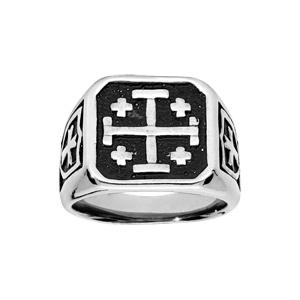 Chevalière en acier plateau carré avec croix de Jérusalem fond noir - Vue 1