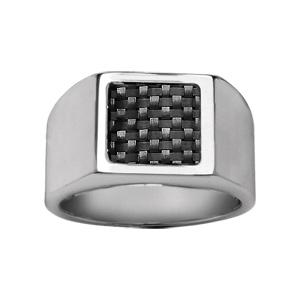 Chevalière en acier plateau carré en carbone noir quadrillé - Vue 1