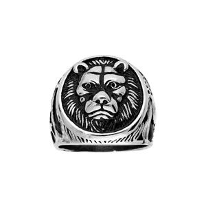 Chevalière en acier plateau rond avec motif tête de Lion - Vue 1