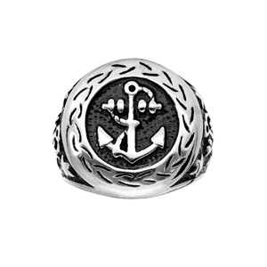 Chevalière en acier plateau rond motif ancre marine - Vue 1