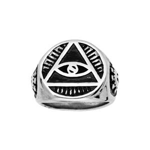 Chevalière en acier plateau rond motif illuminati - Vue 1