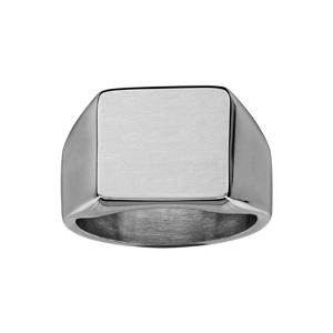 Chevalière en acier satiné plateau carré 13mm X 13mm - Vue 1