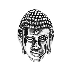 Chevalière en acier tête de bouddha - Vue 1