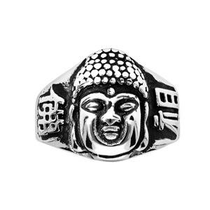 Chevalière en acier tête de Bouddha patiné - Vue 1
