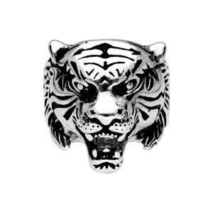 Chevalière en acier tête de tigre - Vue 1