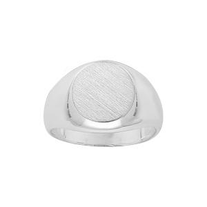 Chevalière en argent petit plateau ovale - Vue 1