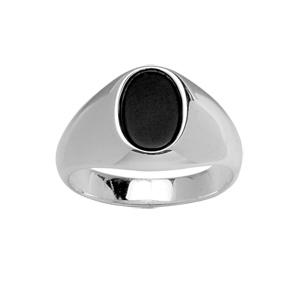 Chevalière en argent petit plateau ovale en onyx véritable - Vue 1