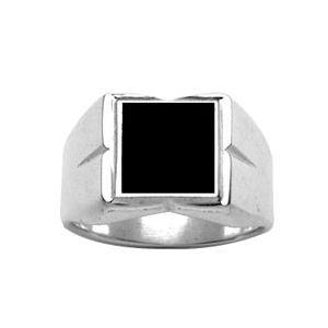 Chevalière en argent plateau carré 10mm X 10mm en onyx synthétique et godrons larges sur les côtés - Vue 1