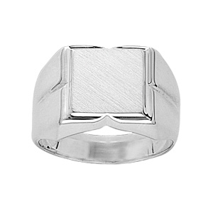 Chevalière en argent plateau carré 10mm X 10mm et godrons larges sur les côtés - Vue 1
