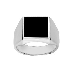 Chevalière en argent plateau carré 13mm X 13mm en onyx synthétique - Vue 1