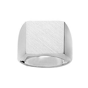 Chevalière en argent plateau carré 15mm X 15mm - Vue 1