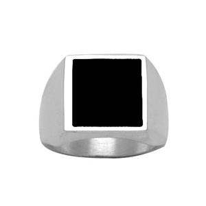 Chevalière en argent plateau carré 15mm X 15mm en onyx synthétique - Vue 1