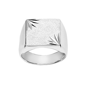 Chevalière en argent plateau carré diamanté ciselé en étoile dans 2 angles - Vue 1