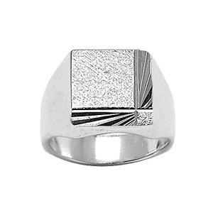 Chevalière en argent plateau carré diamanté et strié en biais sur 2 bords consécutifs - Vue 1