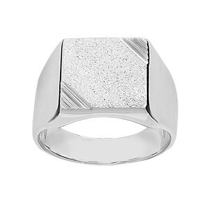 Chevalière en argent plateau carré diamanté et strié sur 2 angles - Vue 1