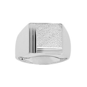 Chevalière en argent plateau carré diamanté et strié sur 2 bords consécutifs - Vue 1