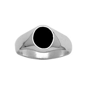 Chevalière en argent plateau ovale 10mm X 8mm en onyx synthétique - Vue 1