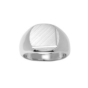Chevalière en argent plateau ovale brossé en biais et strié sur 2 bords consécutifs - Vue 1