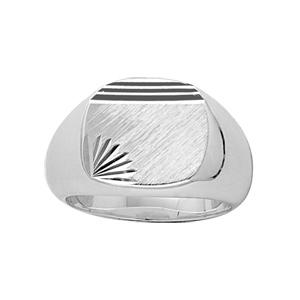 Chevalière en argent plateau ovale brossé en biais, strié en haut et ciselé en étoile dans 1 angle - Vue 1