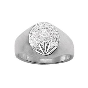 Chevalière en argent plateau ovale diamanté ciselé en étoile en bas - Vue 1