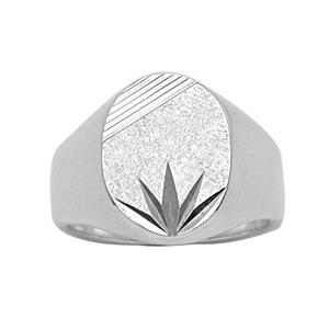 Chevalière en argent plateau ovale diamanté ciselé en étoile en bas et strié en haut - Vue 1