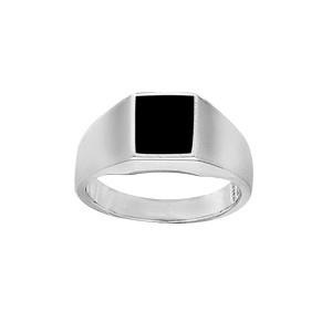 Chevalière en argent plateau rectangulaire 10mm X 8mm en onyx synthétique - Vue 1
