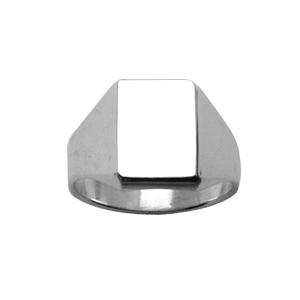 Chevalière en argent plateau rectangulaire 11mm X 8mm - Vue 1
