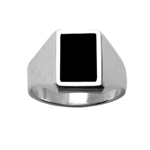 Chevalière en argent plateau rectangulaire 11mm X 8mm en onyx synthétique - Vue 1