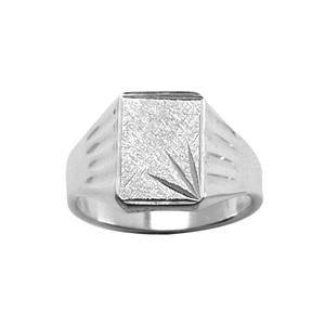 Chevalière en argent plateau rectangulaire 15mm X 13mm diamanté ciselé en étoile dans 1 angle et strié en haut - Vue 1