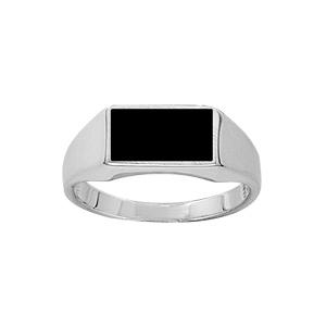 Chevalière en argent plateau rectangulaire 6mm X 11mm en onyx synthétique - Vue 1