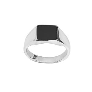 Chevalière en argent plateau rectangulaire 95mm X 95mm en onyx synthétique - Vue 1