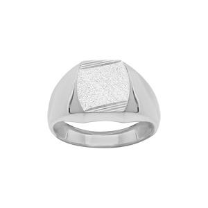 Chevalière en argent plateau tonneau 13mm X 10mm diamanté strié sur 2 angles - Vue 1