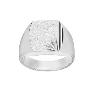 Chevalière en argent plateau tonneau 16mm X 14mm diamanté ciselé en étoile dans 1 angle et strié sur 1 bord du même côté - Vue 1