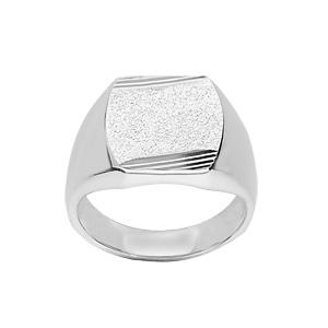 Chevalière en argent plateau tonneau 16mm X 14mm diamanté et strié sur 2 angles - Vue 1
