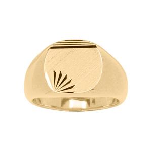 Chevalière en plaqué or plateau ovale brossé en biais, strié en haut et ciselé en étoile dans 1 angle - Vue 1