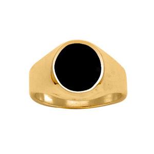 Chevalière en vermeil petit plateau ovale en onyx synthétique - Vue 1