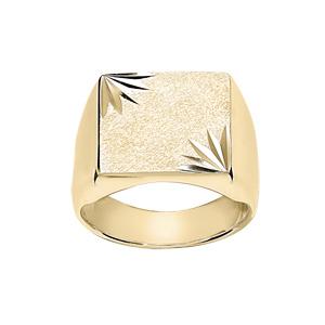 Chevalière en vermeil plateau carré diamanté ciselé en étoile dans 2 angles - Vue 1