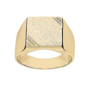 Chevalière en vermeil plateau carré diamanté et strié sur 2 angles - Vue 1