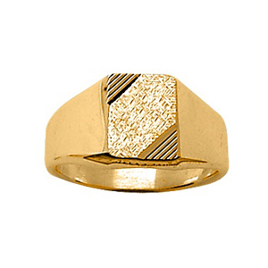 Chevalière en vermeil plateau rectangulaire 10mm X 8mm diamanté et strié sur 2 angles - Vue 1