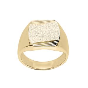 Chevalière en vermeil plateau tonneau 16mm X 14mm diamanté et strié sur 2 angles - Vue 1
