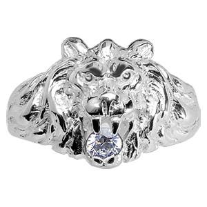 Chevalière lion en argent gros modèle avec oxyde blanc entre les dents - Vue 1