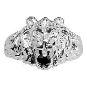 Chevalière lion en argent gros modèle avec oxyde noir entre les dents - Vue 1