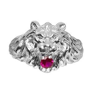 Chevalière lion en argent gros modèle avec oxyde rouge entre les dents - Vue 1