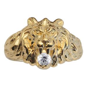 Chevalière lion en vermeil gros modèle avec oxyde blanc entre les dents - Vue 1