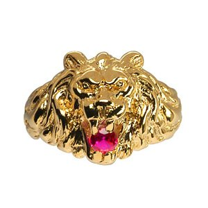 Chevalière lion en vermeil gros modèle avec oxyde rouge entre les dents - Vue 1