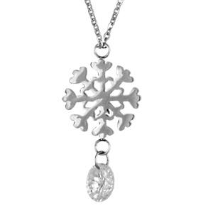 Collier acier pendentif flocon de neige pierre blanche pendante 45cm - Vue 1