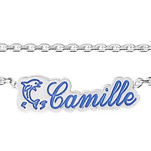 Collier argent avec prénom et logo découpé - Vue 1