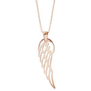 Collier argent dorure rose gros pendentif aile 40+10cm