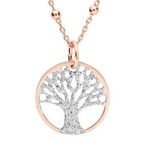 Collier argent et dorure rose chaîne avec pendentif arbre de vie granité 15mm 38+5cm - Vue 1