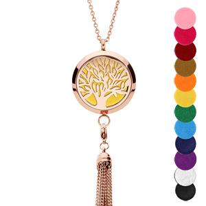 Collier avec Pendentif diffuseur de parfum grand médaillon arbre de vie et pompon PVD rose - réglable 45 à 65cm - Vue 1
